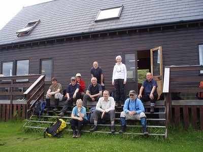 Posing for a group photo, at our Lodge accommodation in Knoydart.