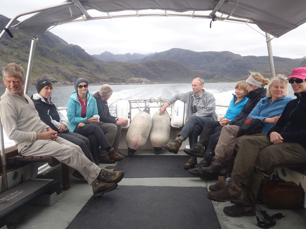 Safely aboard the Mary Doune heading for our days reward of showers and great food