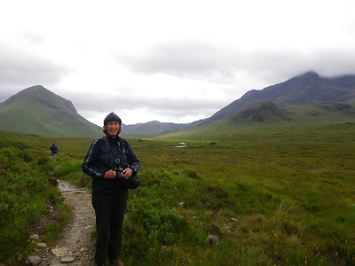 Chris enjoying her last walk at Glen Sligachan, Skye