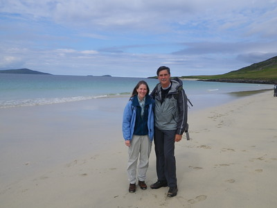 Eric and Jan on their Scottish beach holiday