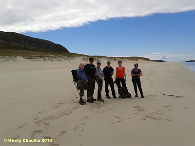 The team on the beautiful Traigh Mheilein beach...not another soul to be seen!