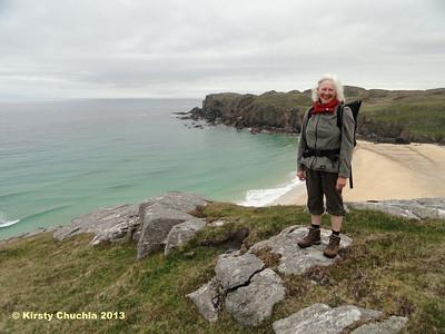 Anke enjoying the rugged west coast of Lewis