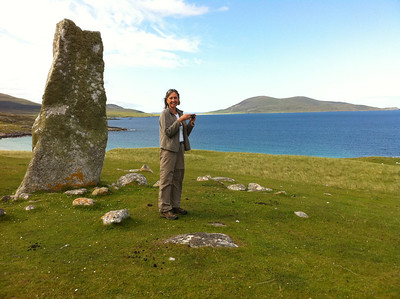 Sally at the standing stone, Clach Mhic Leoid, above Traigh lar