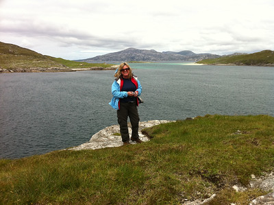 Katie with Scarp as a backdrop