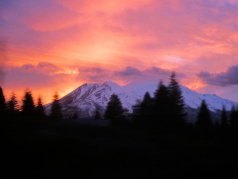 Mt Shasta at dawn April 24 on Amtrak