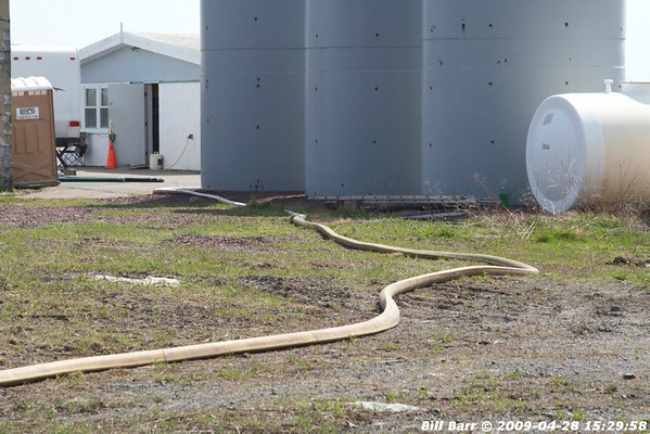 Hazleton City Fire provides above ground water line for Air Tankers