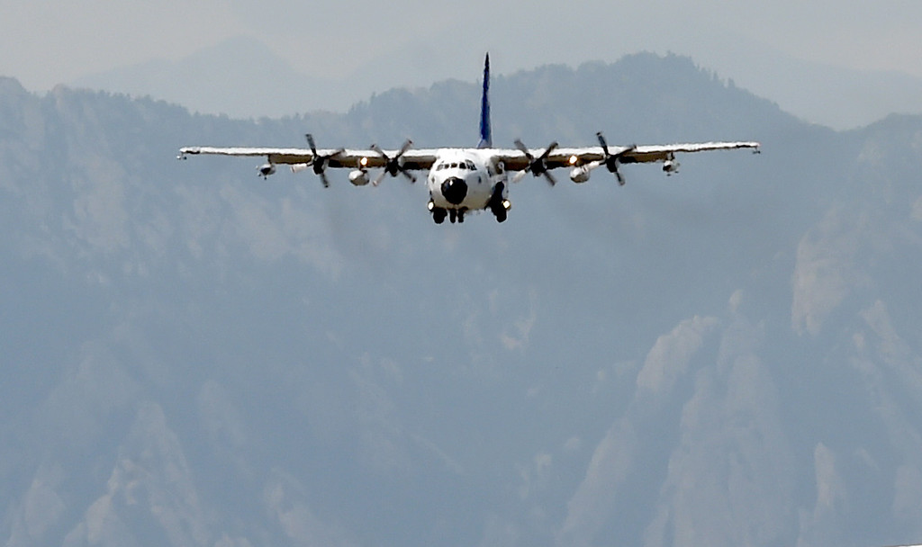 . The C-130 aircraft lands at Rocky Mountain Airport. Scientists from NCAR, NSF and CSU, are working together on a major field project on wildfire emissions beginning next month. The goal of the project is to better understand the impact of wildfires on air quality, weather patterns, and longer-term climate change.  The C-130 research aircraft that is being used to fly through the smoke plumes returned from a test run on Tuesday to Rocky Mountain Airport in Broomfield. For more photos and a video, go to dailycamera.com Cliff Grassmick  Staff Photographer  July 17, 2018