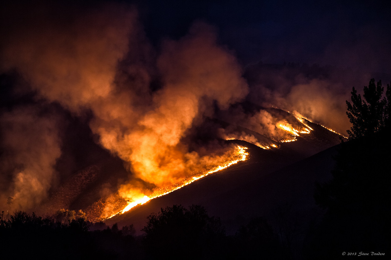 The fire's lava trail.