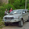 Our transportation for our travels: Toyota Hilux truck. Our driver, Yasemin's daughter Goze, is pictured with Beth.
