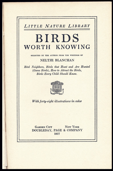 Birds Worth Knowing by Neltje Blanchan - title page