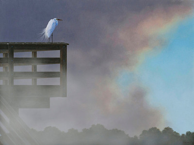 Clearing Skies -- Great Egret Acrylic on canvas NFS