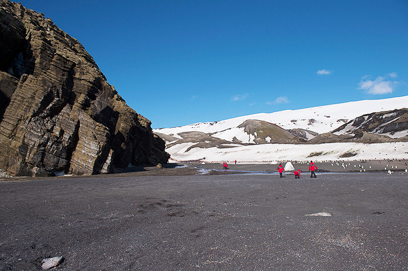 Entrance to the valley containing the main Chinstrap Penguin colony at Baily Head, a prominent headland forming the easternmost extremity of Deception Island