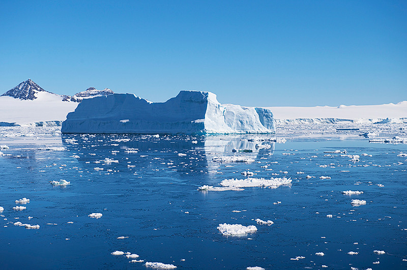 Tabular iceberg near Brown Bluff, Antarctica, a tuya located at the northern tip of the Antarctic Peninsula.