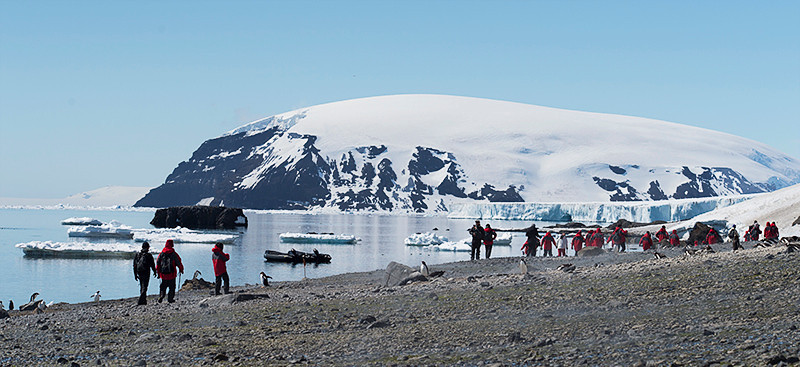 Zodiac landing site on beach at Brown Bluff, Antarctica, a tuya located at the northern tip of the Antarctic Peninsula.