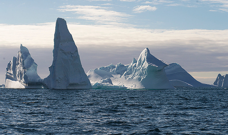 A group of pinnacle icebergs at Cierva Cove, located at the far northern end of Hughes Bay, at the northern end of the Gerlache Strait