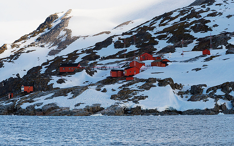 Primavera Base, an Argentine Antarctic base and scientific research station, located on Primavera Cape, Cierva Cove, on San Martín Land, Antarctic Peninsula, at the far northern end of Hughes Bay, at the northern end of the Gerlache Strait