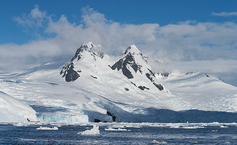 Gregory Glacier, at Cierva Cove, located at the far northern end of Hughes Bay, at the northern end of the Gerlache Strait