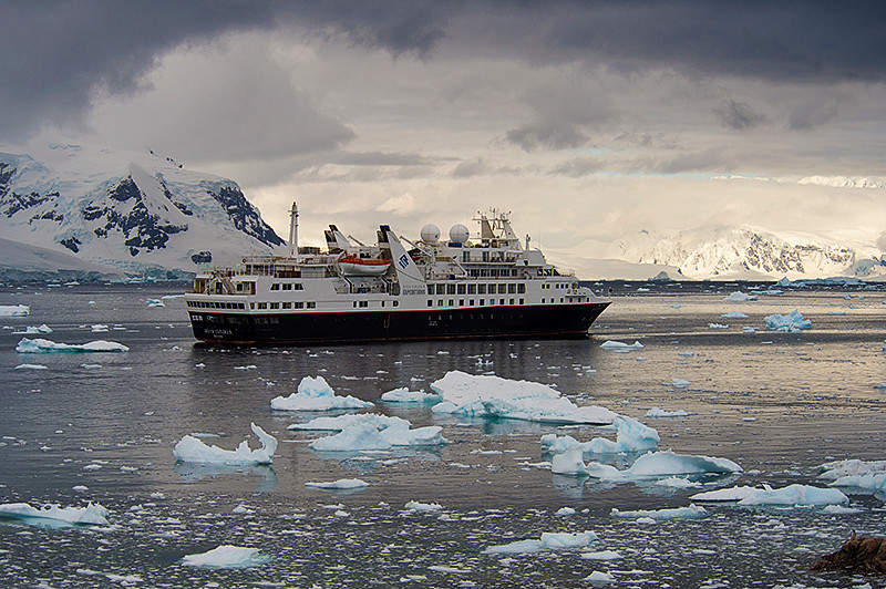 Silversea Cruises Ltd., Silver Explorer in Neko Harbor, an inlet on the Antarctic Peninsula on Andvord Bay, situated on the west coast of Graham Land.