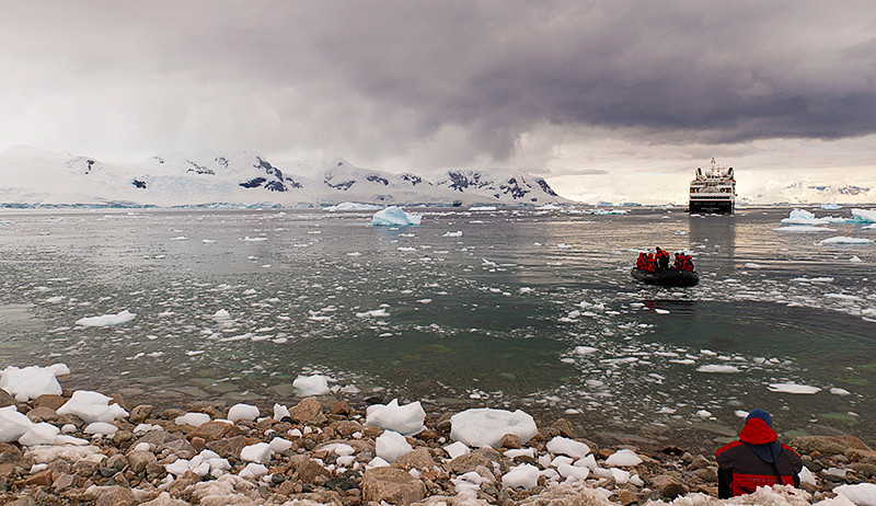 The Silver Explorer anchored in Neko Harbor, an inlet on the Antarctic Peninsula on Andvord Bay, situated on the west coast of Graham Land.