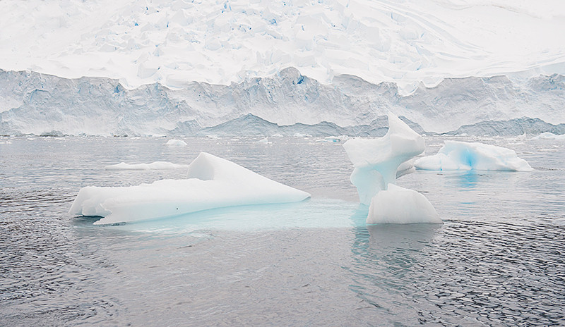 Small icebergs in Neko Harbor, an inlet on the Antarctic Peninsula on Andvord Bay, situated on the west coast of Graham Land.