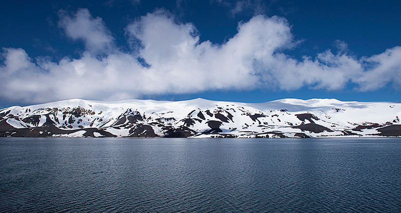 Port Foster, a harbor in the center of Deception Island, created from a volcanic calder, flooded by the sea, the entrance of which is Neptune's Bellows, a channel on the southeast side of Deception Island