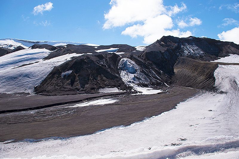 At Telefon Bay, a small bay in the northwest side of Port Foster, Deception Island, in the South Shetland Islands, surmounted by Telefon Ridge looking toward Mount Achala