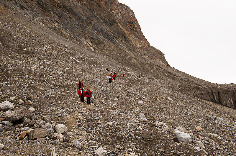 Coming down the mountain at the July 14th Glacier, Krossfjord, Svalbard
