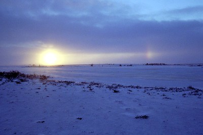 Sun dog at Churchill, with a double sunset