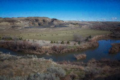 Walla Walla River Cattle Ranch Monet Impression