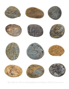 A collection of river rocks from Middle Creek in Great Smoky Mountains National Park, Tennessee. They were photographed on location using the field studio technique and then returned to the creek.