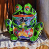 Clay frog with paint affect