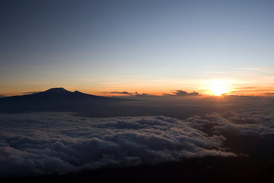 Morning sunrise over Mt. Kilimanjaro. View from Mt. Meru