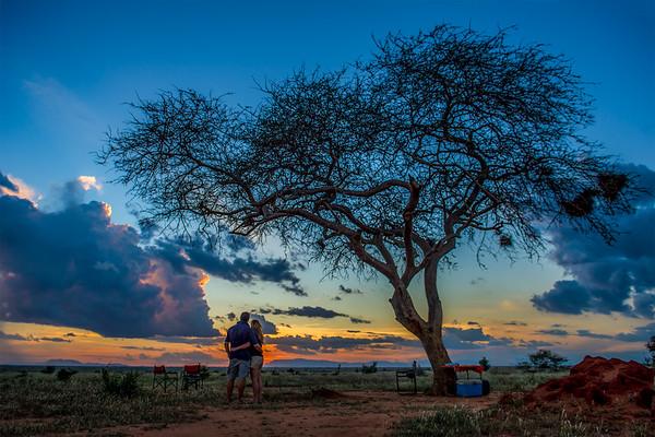 Sundowner.  Sunset over the Taita Hills, Tsavo East Safari to Satao,  23rd-28th November, 2014 Photo by: Stephen Hindley©
