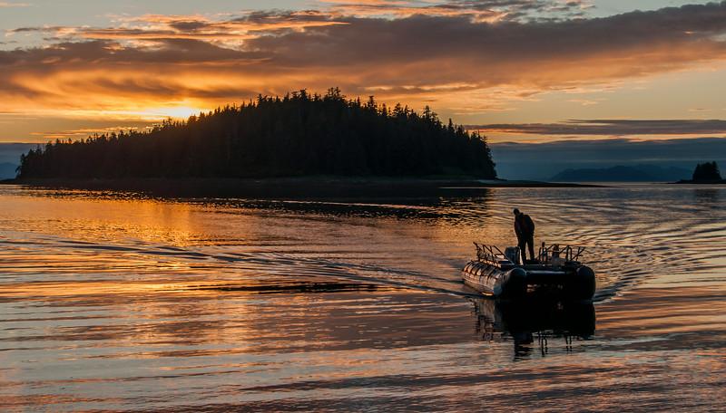 Frederick Sound & Stephen's Passage - Boat at Sunset