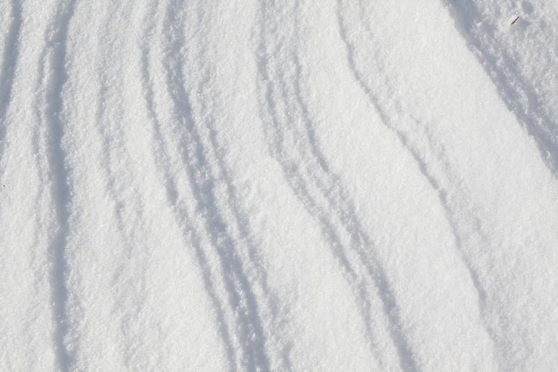 Wind swept ridges in the snow.