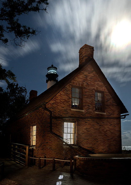 Moonrise over the Lighthouse Keeper's House at Bill Baggs State  Park with the Lighthouse in the Distance