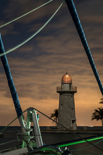 Boca Chita Key Lighthouse Framed by Ship's Rigging