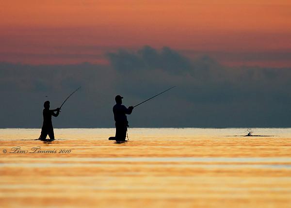 Wade fisherman at sunrise