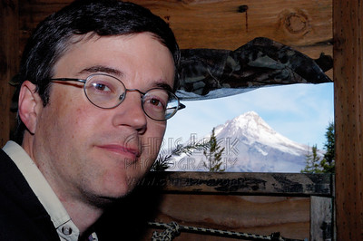 Inside the blind, Mt. Hood in the background.