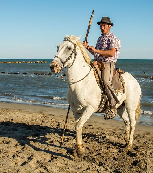 Camargue Horse & Guardian on Beach