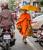 Monk Out for a Morning Walk - Phnom Penh
