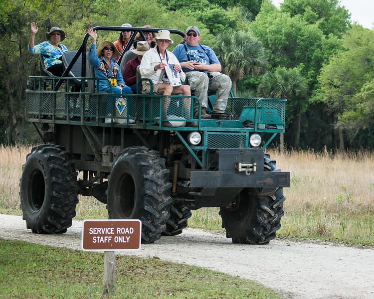 Mickey, Therese, Dale, Brenda, Les, and David with Gallus on the Swamp Buggy