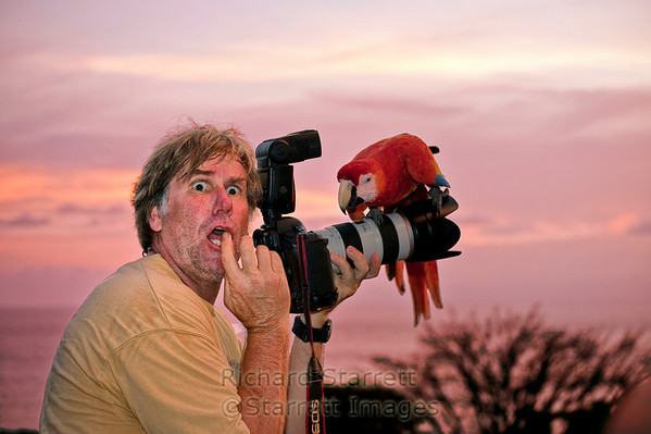 Roy Toft clowning at sunset