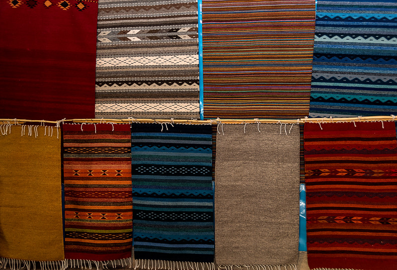 Hand-woven textiles in Zapotec home