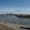 KC Skyline from Kaw Point, Ks. The Kansas River foreground merges with the Missouri River coming from the north here.