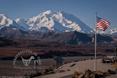 Denali - Eielson visitor center - Mountain with Flag