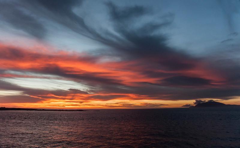Fernandina, Espinoza Point - Sunset from the ship
