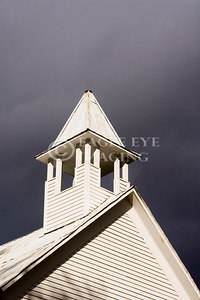 A stormy sky behind a church steeple in Tennessee