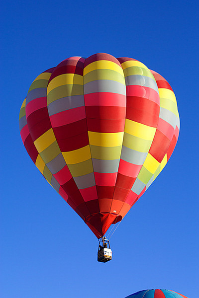Colorful balloons, rising into the clear blue sky.