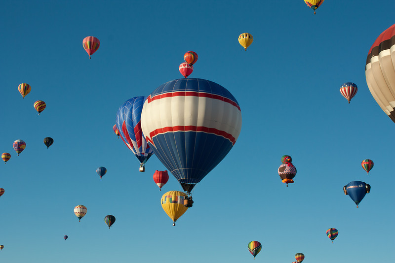 They fill the sky, colorful balloons everywhere.